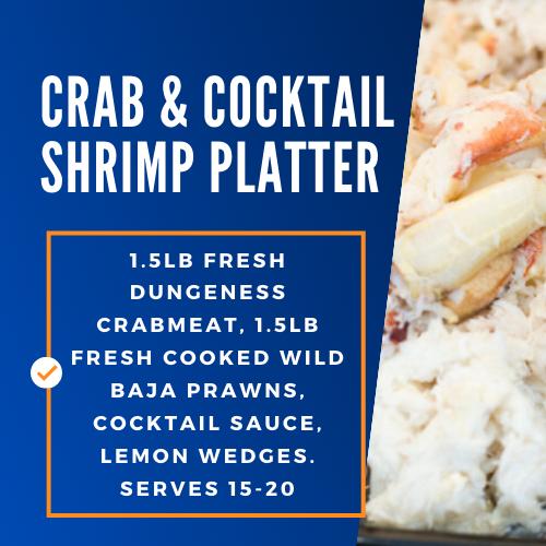 crab and cocktail shrimp platter